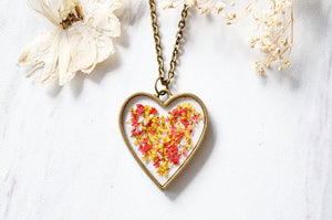 Real Dried Flowers in Resin Heart Necklace in Red Yellow Mix