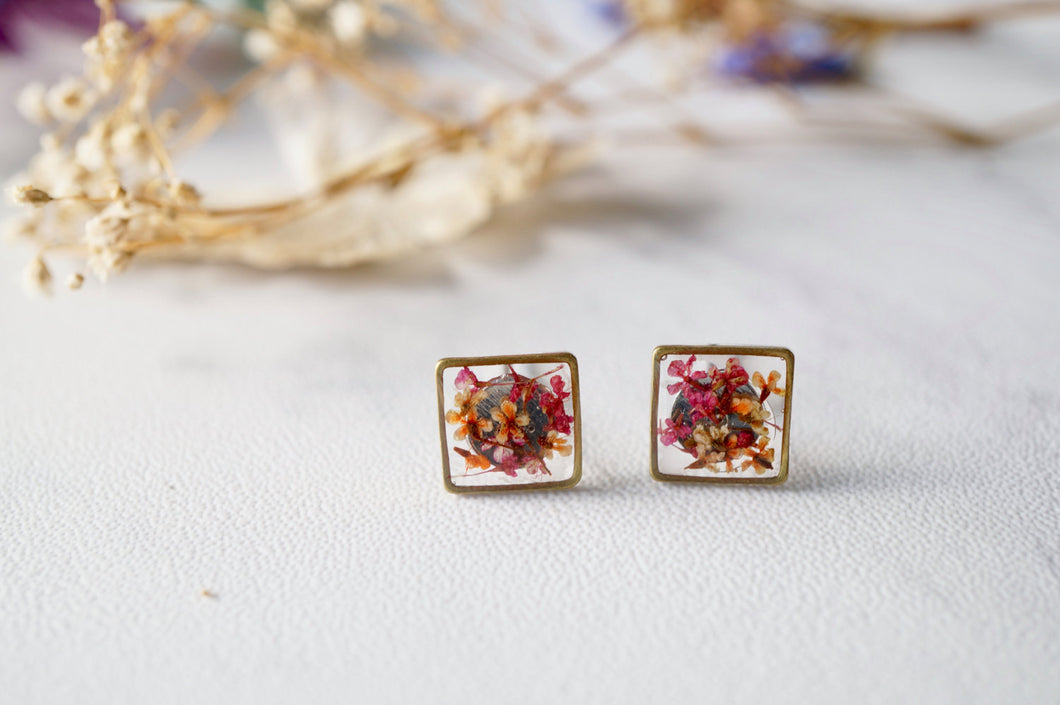 Real Dried Flowers and Resin Stud Earrings in Pink Orange Mix