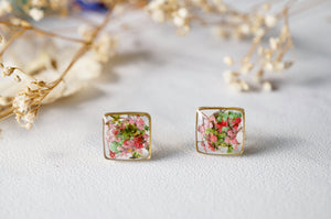 Real Dried Flowers and Resin Stud Earrings in Pink Green Mix