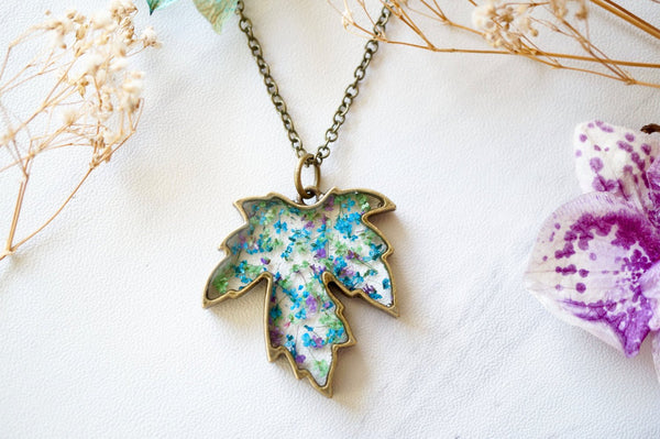 Real Pressed Flower and Resin Necklace Maple Leaf in Blue Purple Green