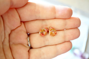 Real Dried Flowers and Resin Teardrop Stud Earrings in Pink Orange Yellow