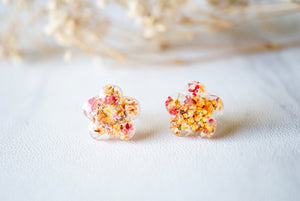 Real Dried Flowers and Resin Stud Earrings in Pink Orange Yellow