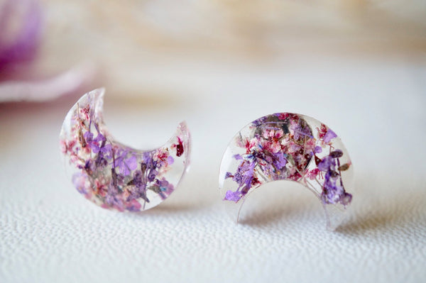 Real Pressed Flowers and Resin Moon Stud Earrings in Purple and Burgundy
