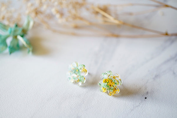 Real Dried Flowers and Resin Clover Stud Earrings in Yellow and Green