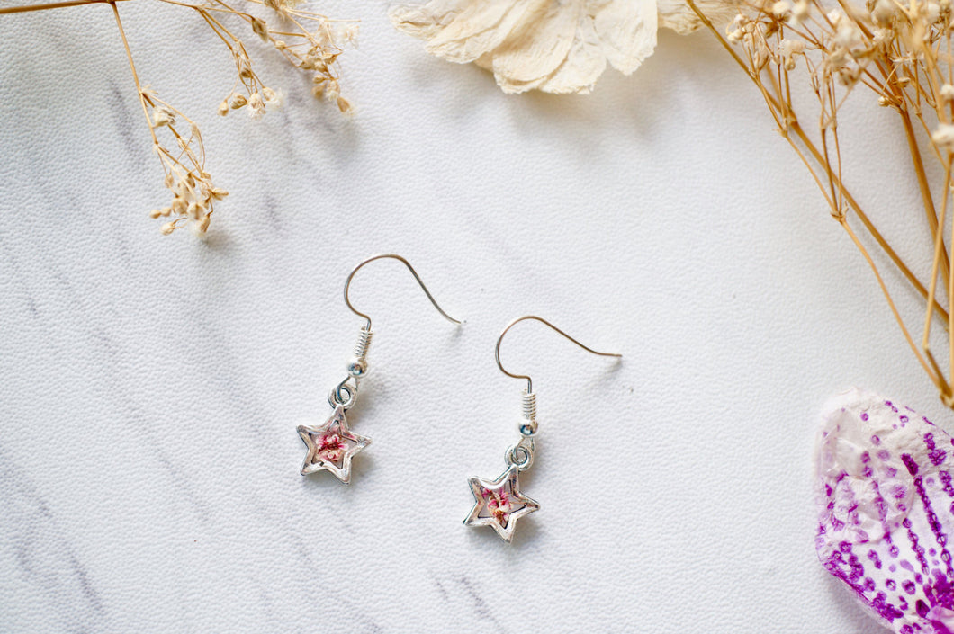 Real Dried Flowers and Resin Star Earrings in Magenta and White
