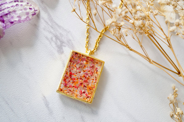 Real Dried Flowers in Resin Square Necklace in Gold Red Orange