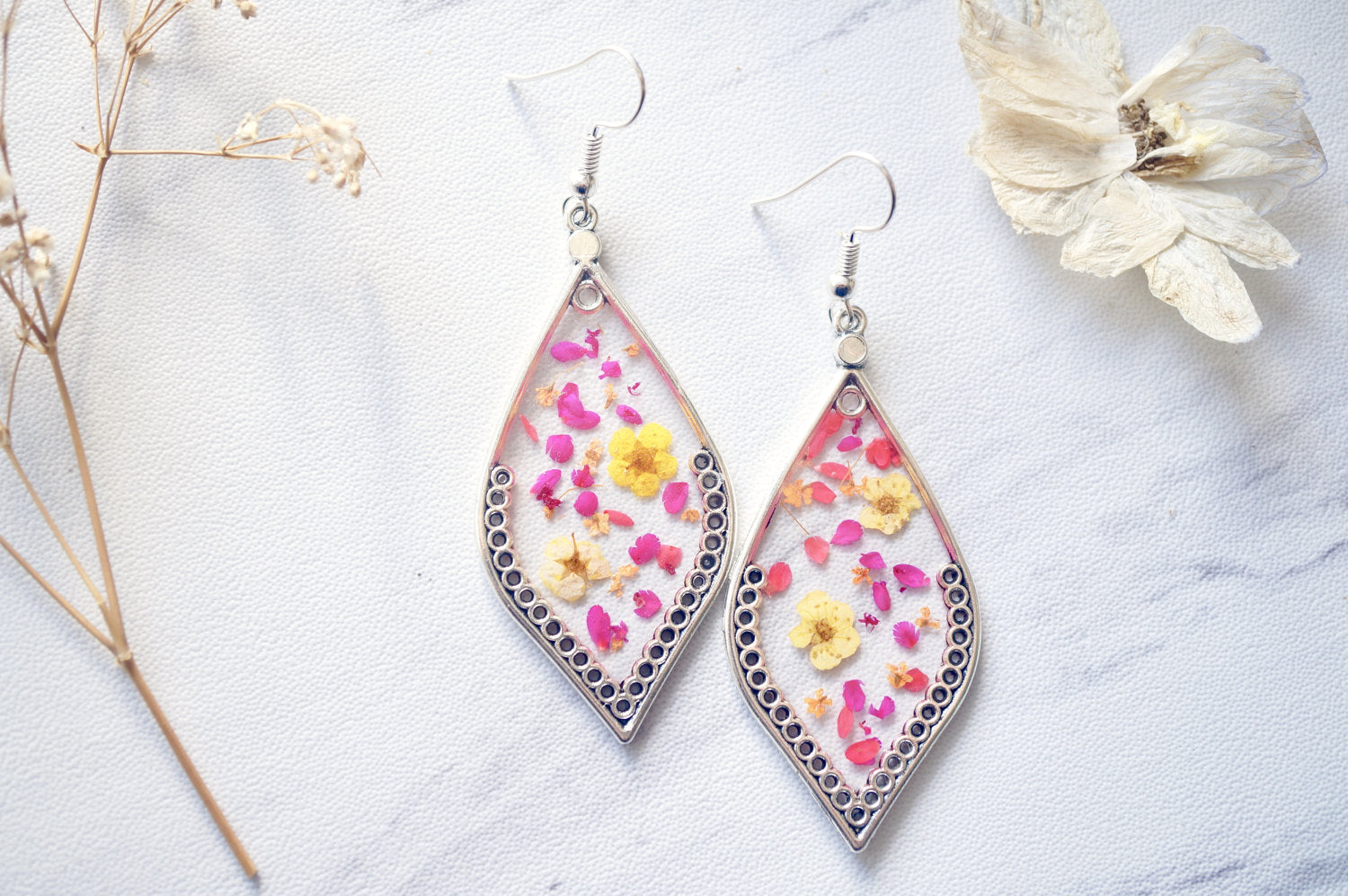 Real Pressed Flowers and Resin Earrings in Red Orange Pink Yellow