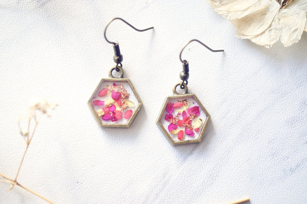 Real Pressed Flowers and Resin Earrings in Neon Pink Yellow and Copper Flakes