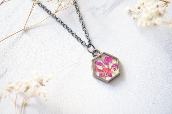 Real Dried Flowers in Resin Necklace in Neon Pink Yellow Gold Flakes