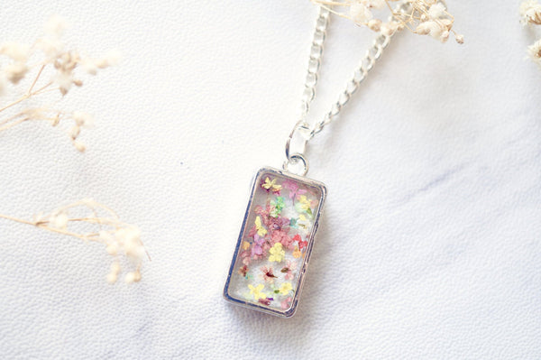 Real Pressed Flowers in Resin Necklace, Bronze Rectangle in Magenta Mint Light Pink