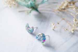 Real Dried Flowers and Resin Moon Stud Earrings in Blue Mix