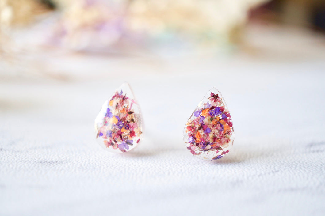 Real Dried Flowers and Resin Teardrop Stud Earrings in Pink Purple Orange