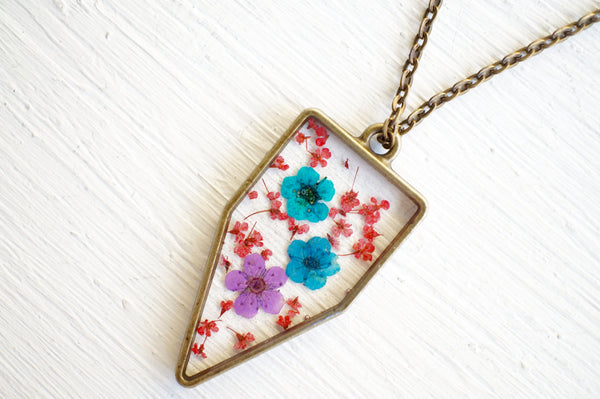 Real Pressed Flower and Resin Necklace in Red, Blues, and Purple Mix