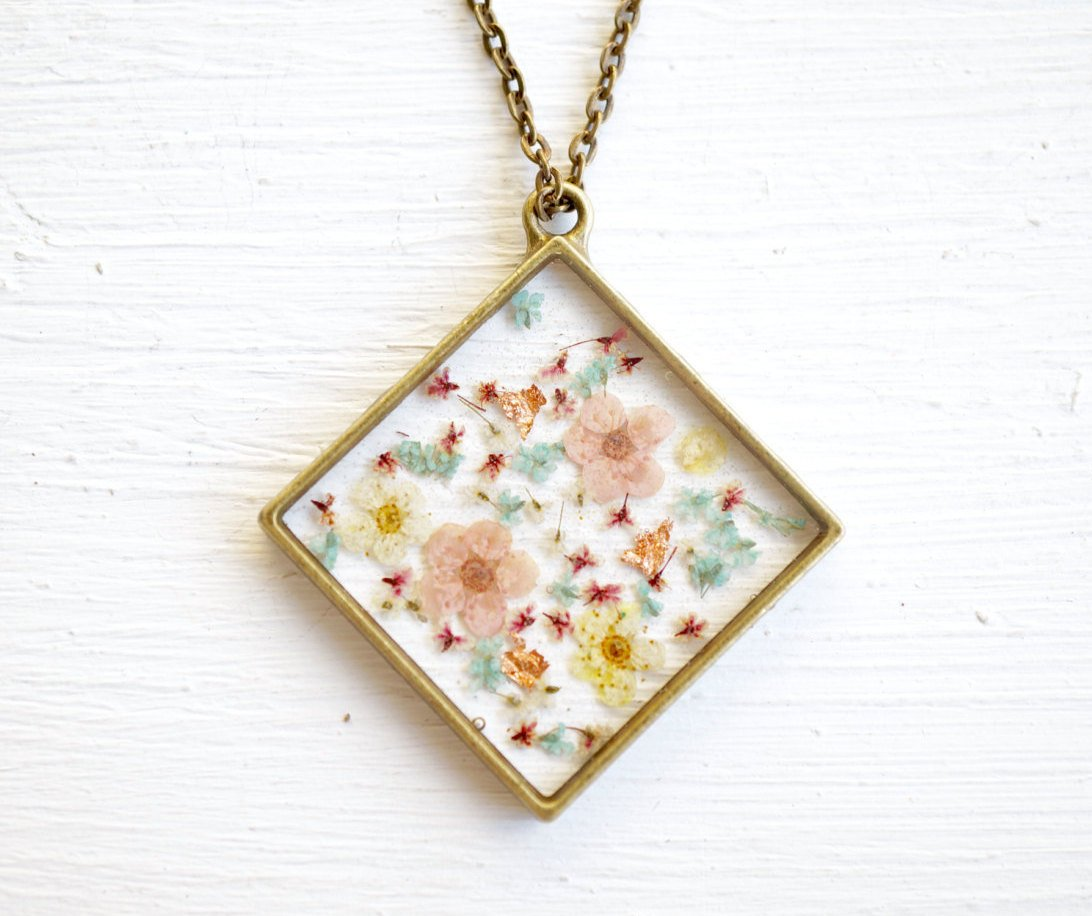 Real Pressed Flower and Resin Necklace in Magenta, Pastel Pinks, Yellows, and Blues Mix, With Real Gold Foil Flakes.