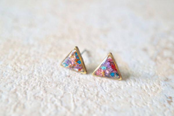 Real Pressed Flower and Resin Stud Earrings in Reds, Oranges, Blues, Purples, and Pinks Mix