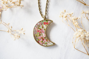 Real Pressed Flower and Resin Moon Necklace in Greens and Pinks Mix