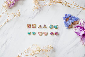 Real Pressed Flowers and Resin, Square Stud Earrings in Mint and Teal