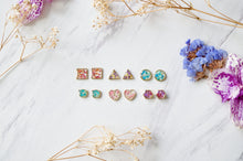 Real Dried Flowers and Resin Heart Stud Earrings in Purple Pink Green Mix