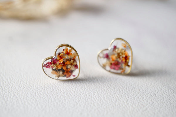 Real Dried Flowers and Resin Heart Stud Earrings in Magenta Orange White Mix