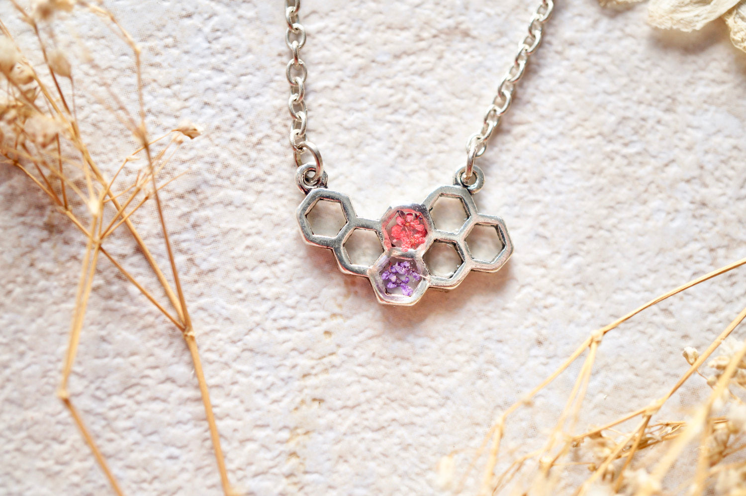 Real Dried Flowers in Honeycomb Resin Necklace in Pink and Purple