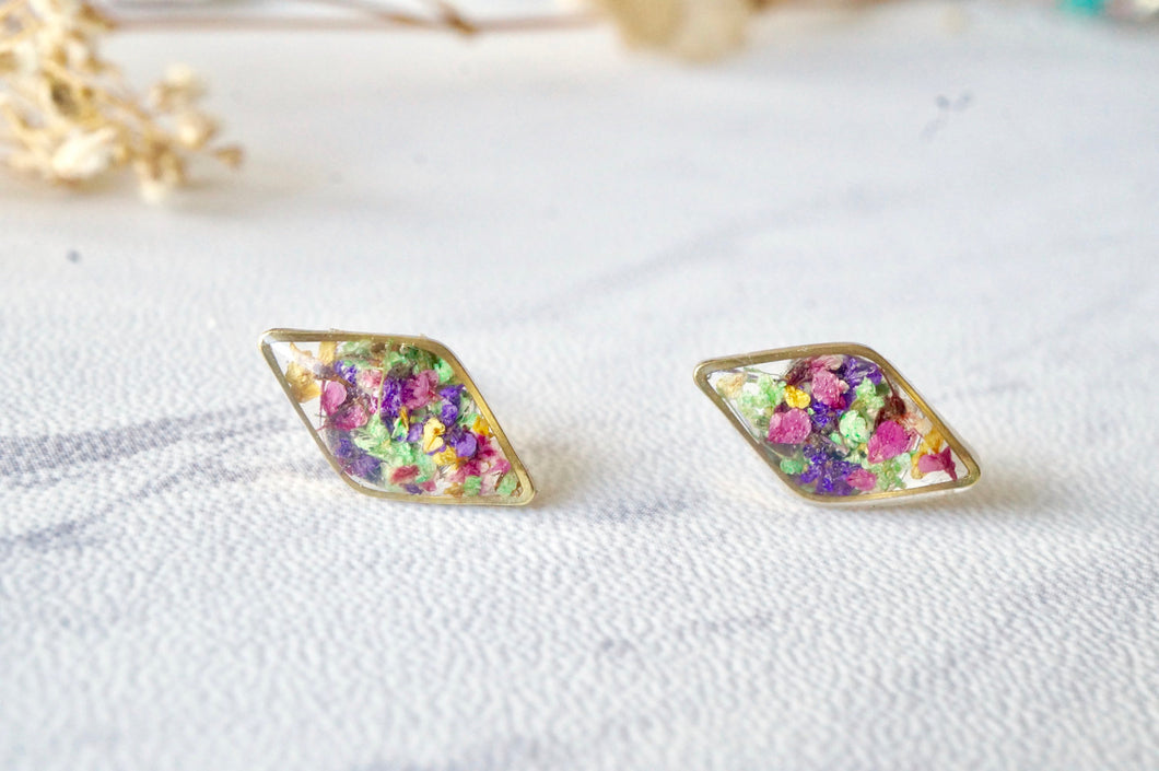 Real Dried Flowers and Resin Diamond Stud Earrings in Purple Pink Green Yellow Mix