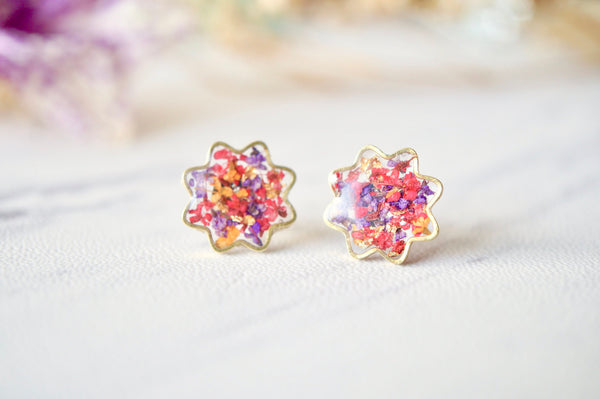 Real Dried Flowers and Resin Flower Stud Earrings in Red Purple Orange Mix
