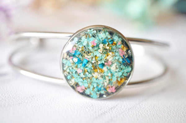 Real Dried Flowers and Resin Bracelet in Mint Blue Yellow Pink Mix