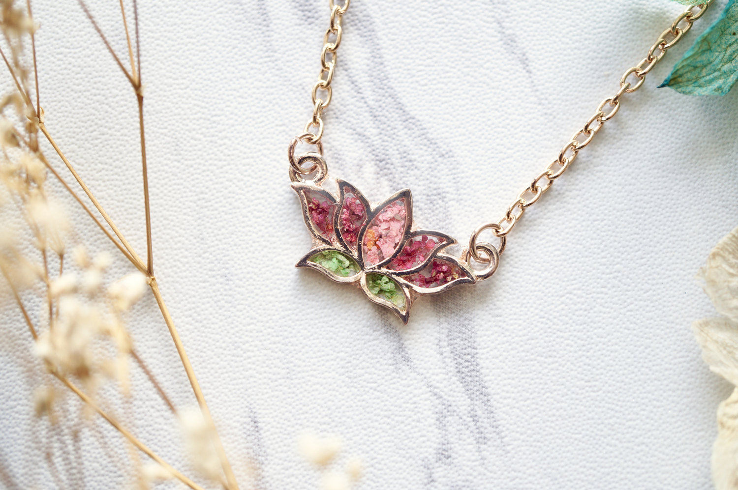 Real Pressed Flowers and Resin Necklace Rose Gold Lotus Flower in Pink and Green