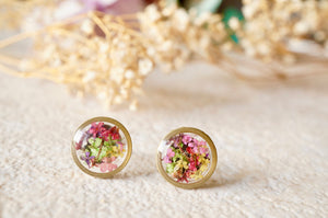 Real Dried Flowers and Resin Circle Stud Earrings in Purple Yellow Pink Red Green Mix