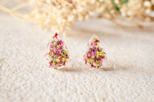 Real Dried Flowers and Resin Teardrop Stud Earrings in Pink Purple Yellow Red Green