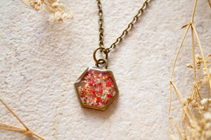 Real Dried Flowers in Resin Necklace, Hexagon in Pinks and White Mix