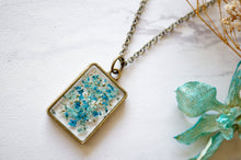 Real Pressed Flower and Resin Necklace in Teal Mint Blue Mix