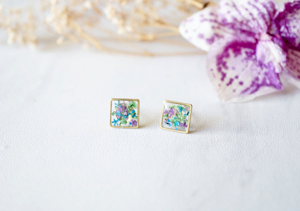 Real Dried Flowers and Resin Square Stud Earrings in Purple Blue Green