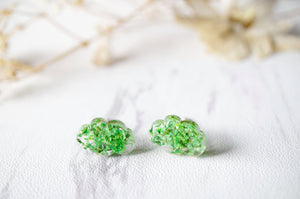 Real Pressed Flowers and Resin Cloud Stud Earrings in Green