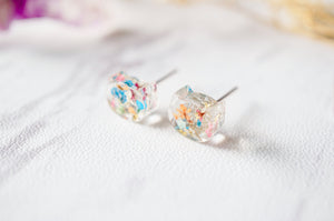 Real Dried Flowers and Resin Cat Stud Earrings in Party Mix