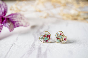 Real Dried Flowers and Resin Heart Stud Earrings in Mint Magenta White
