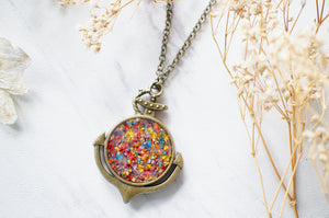 Real Dried Flowers in Resin Anchor Necklace in Party Mix