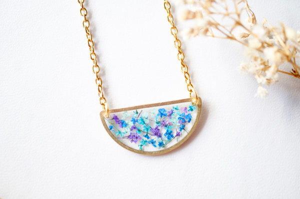 Real Dried Flowers in Resin Necklace, Half Circle in Purple, Mint, Blue, Teal