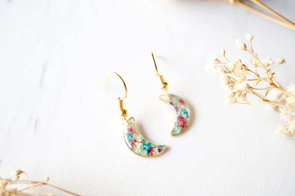 Real Dried Flowers and Resin Earrings, Gold Moons in Maroon Mint Teal White