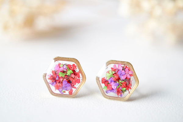 Real Dried Flowers and Resin Stud Earrings, Gold Hexagon in Neon Mix