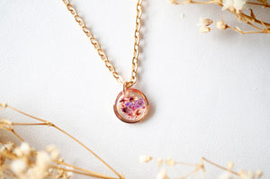 Real Dried Flowers in Resin Necklace, Small Rose Gold Circle in Pinks and Purple
