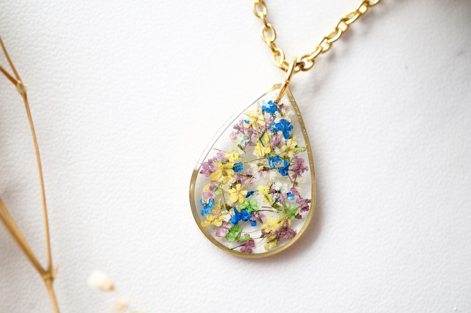 Real Dried Flowers and Resin Necklace, Gold Teardrop in Purple Yellow White Blue Green