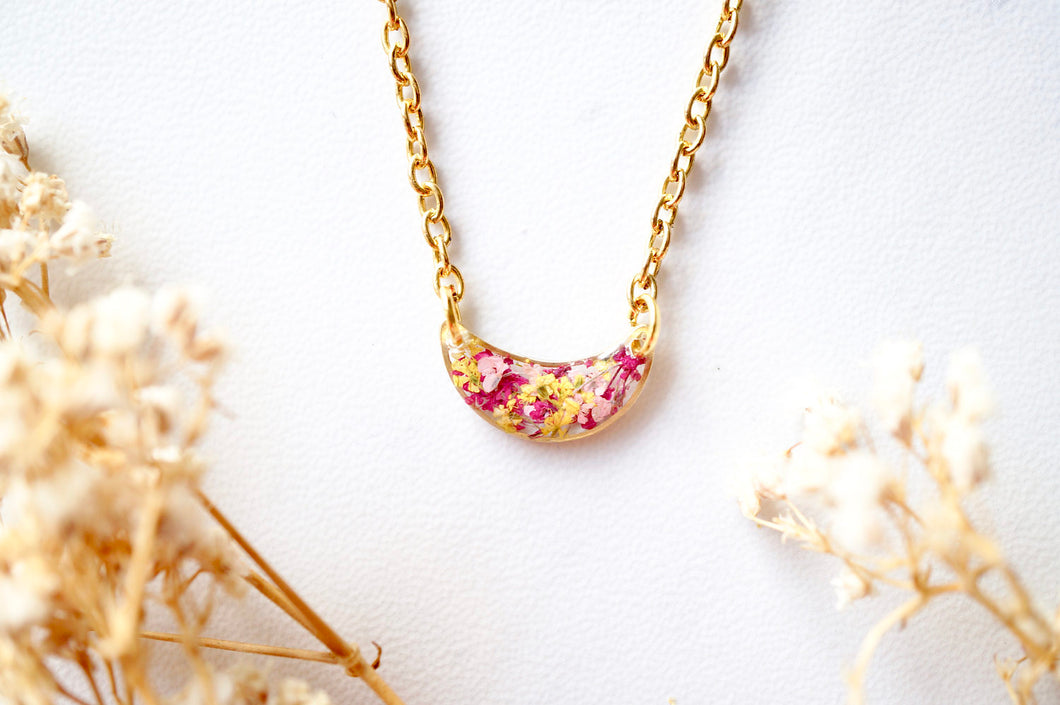 Real Dried Flowers in Resin Necklace, Gold Half Moon in Pink Magenta Yellow