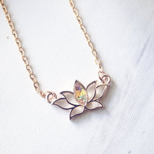 Real Pressed Flowers and Resin Necklace Rose Gold Lotus Flower