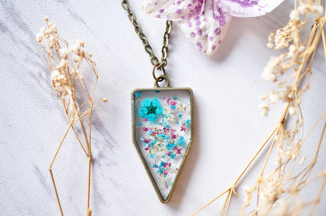 Real Dried Flowers in Resin Necklace, Arrowhead in Teal Magenta White