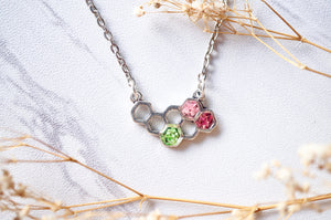 Real Dried Flowers in Honeycomb Resin Necklace in Green and Pinks