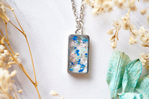 Real Dried Flowers in Resin Necklace, Silver Rectangle in Pink Mint Blue