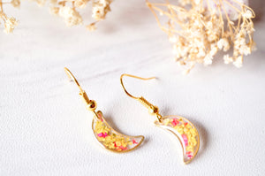 Real Pressed Flowers and Resin Earrings, Gold Moons in Yellow and Red