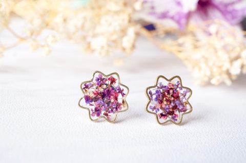 Real Pressed Flowers and Resin Flower Stud Earrings in Purples