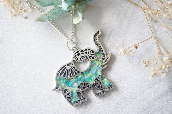 Real Dried Flowers in Resin Silver Tribal Elephant Necklace in Mint Teal Mix